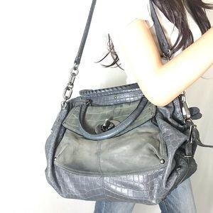 Coach Bags - COACH $798 Blue Leather Sadie Croc Satchel #15271